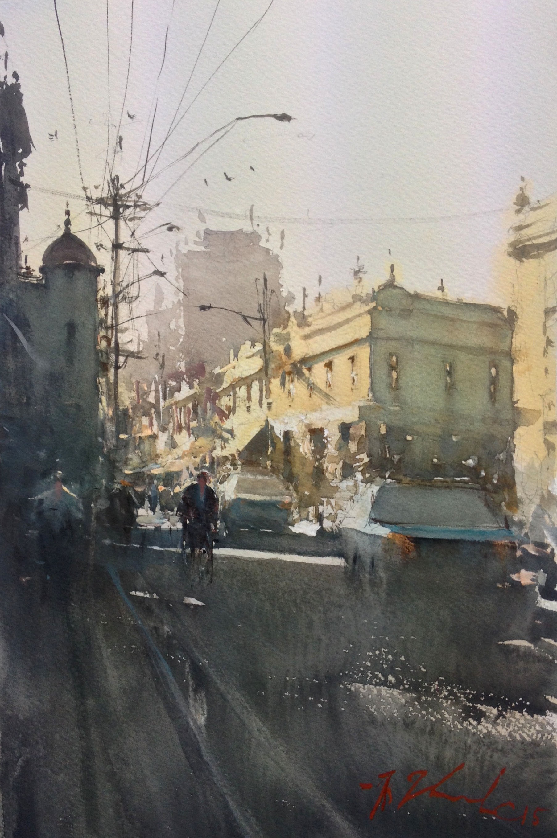 Joseph Zbukvic, Cnr Johnstone and Brunswick   Watercolour, framed, available