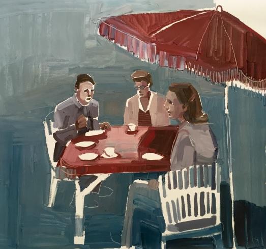 Clara Adolphs, Red Umbrella 80 x 75 cm, oi on linen