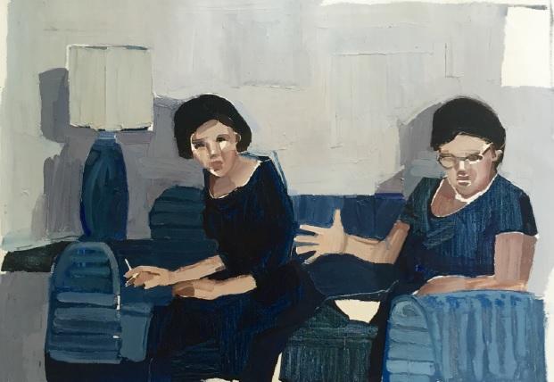 Clara Adolphs,Women in Blue 82 x 56 cm, oil on linen