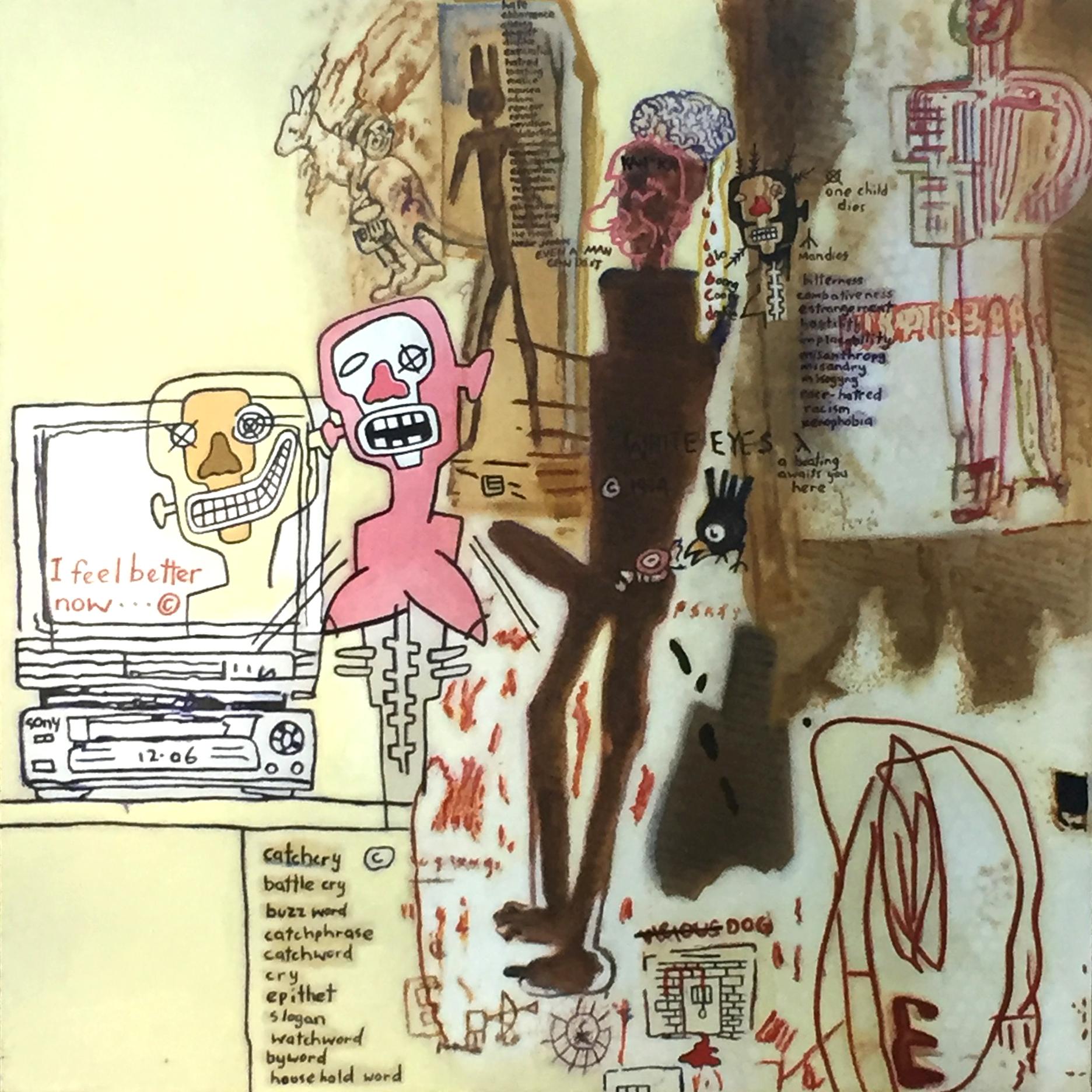 Gordon Bennett, Notes to Basquiat: Social Security 101 x 101 cm, available '© The Estate of Gordon Bennett'