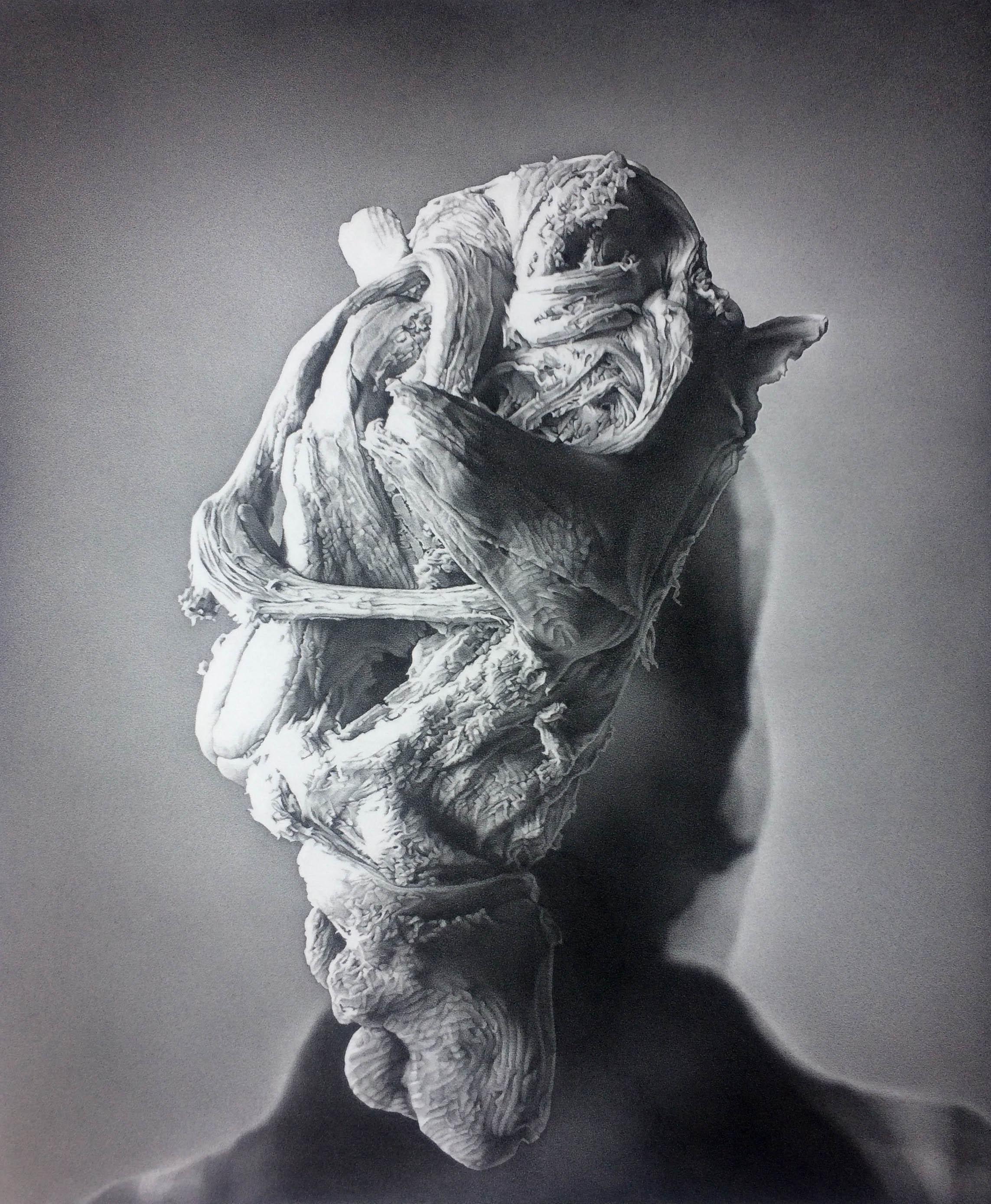 James Bonnici, Head Variation 2, 2017 56 x 78 cm, carbon pencil on paper, available
