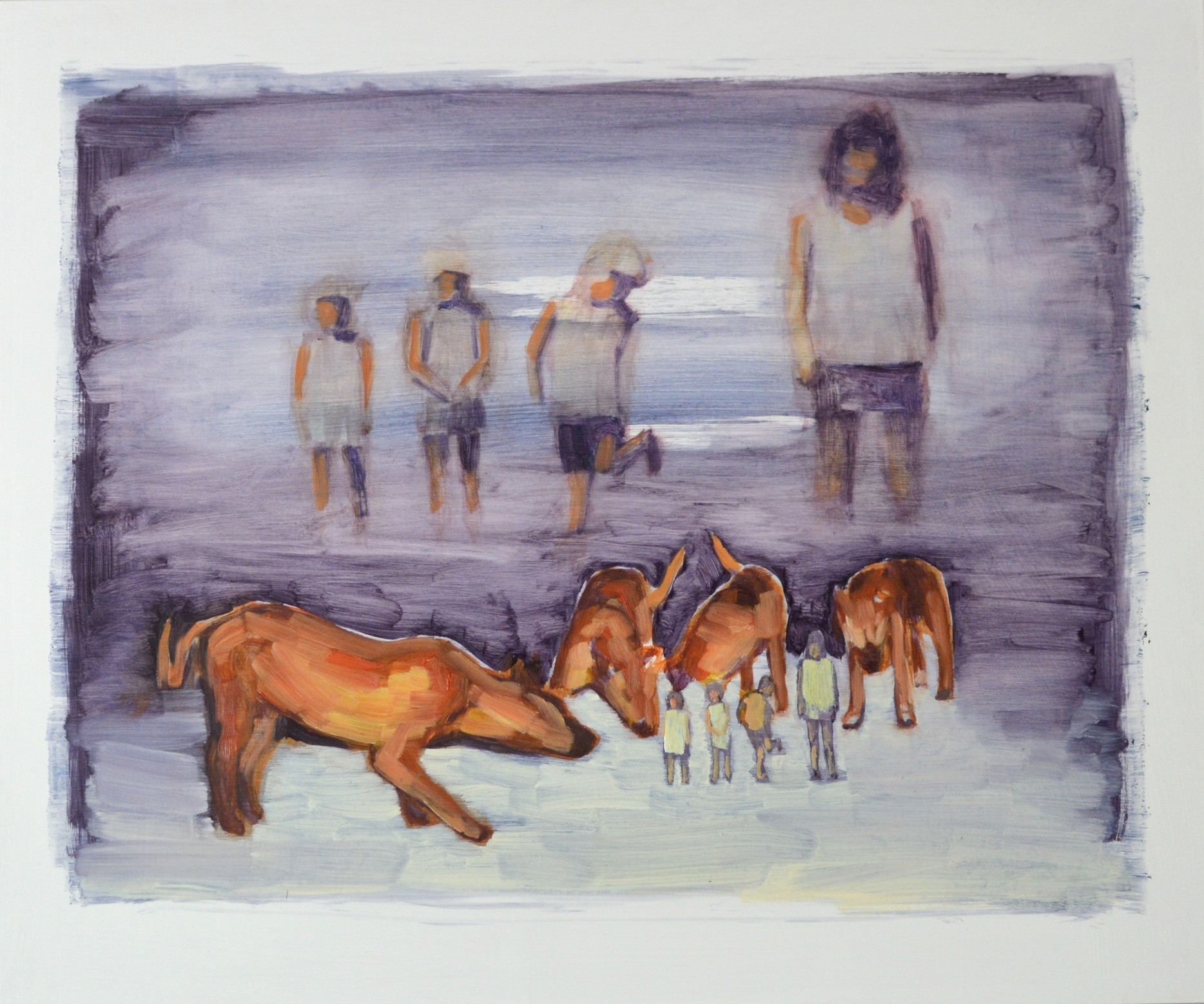 Sarah Gosling, Underdogs, 2017 oil on panel, 60 x 50 cm, available