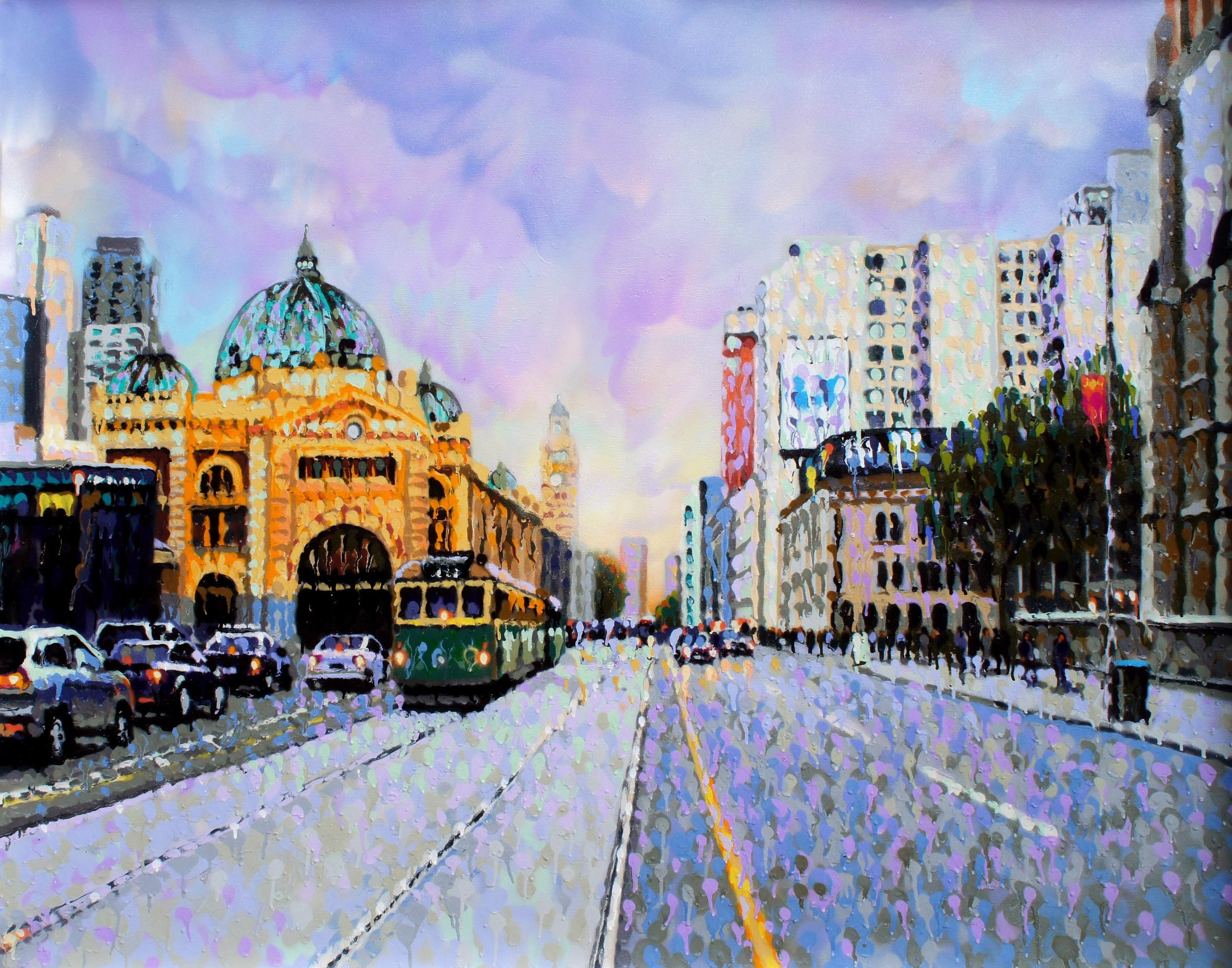 James Cochran, Flinders Street, 2017 Aerosol on canvas, 150 x 120 am