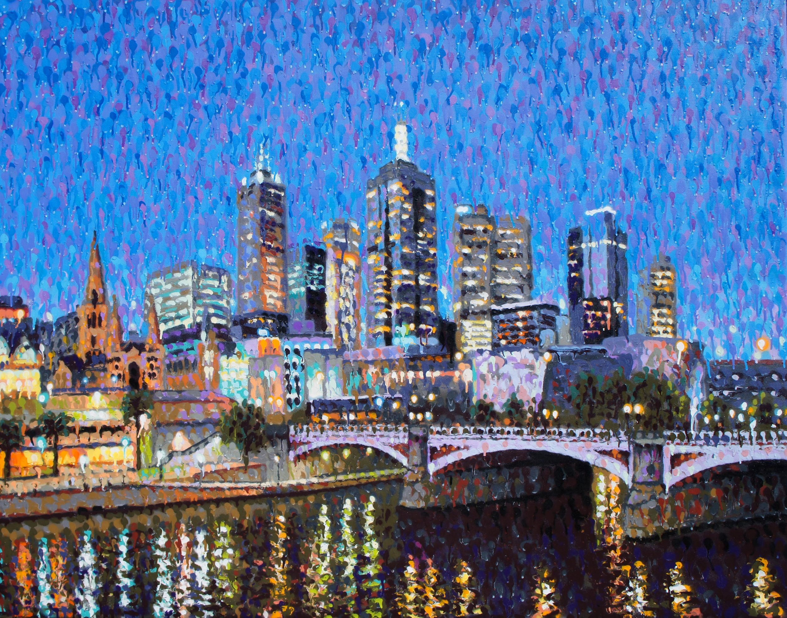 James Cochran, Swanston Street Bridge, 2017 Aerosol on canvas, 150 x 120 cm, available