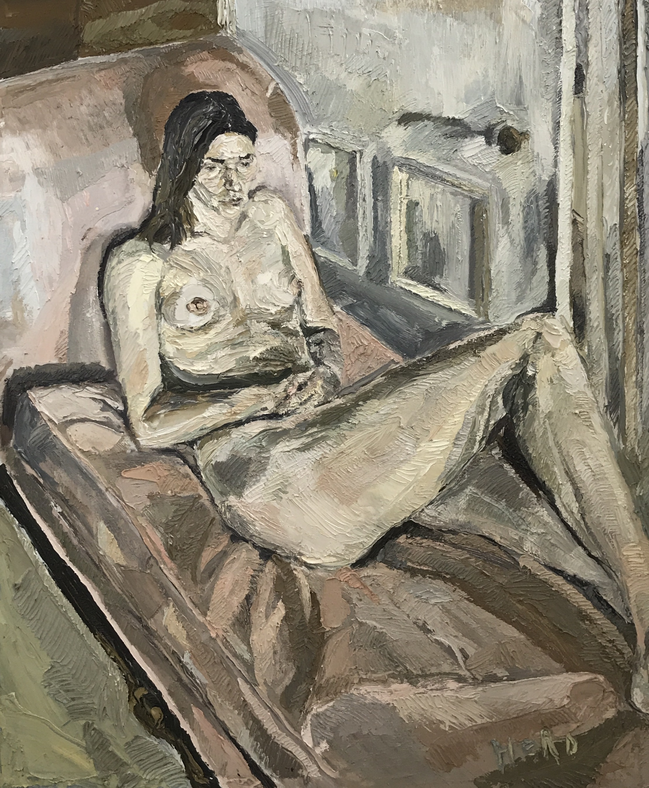 NIck Herd, Charlotte on Chaise Lounge oil on canvas,143 x 173 cm, available