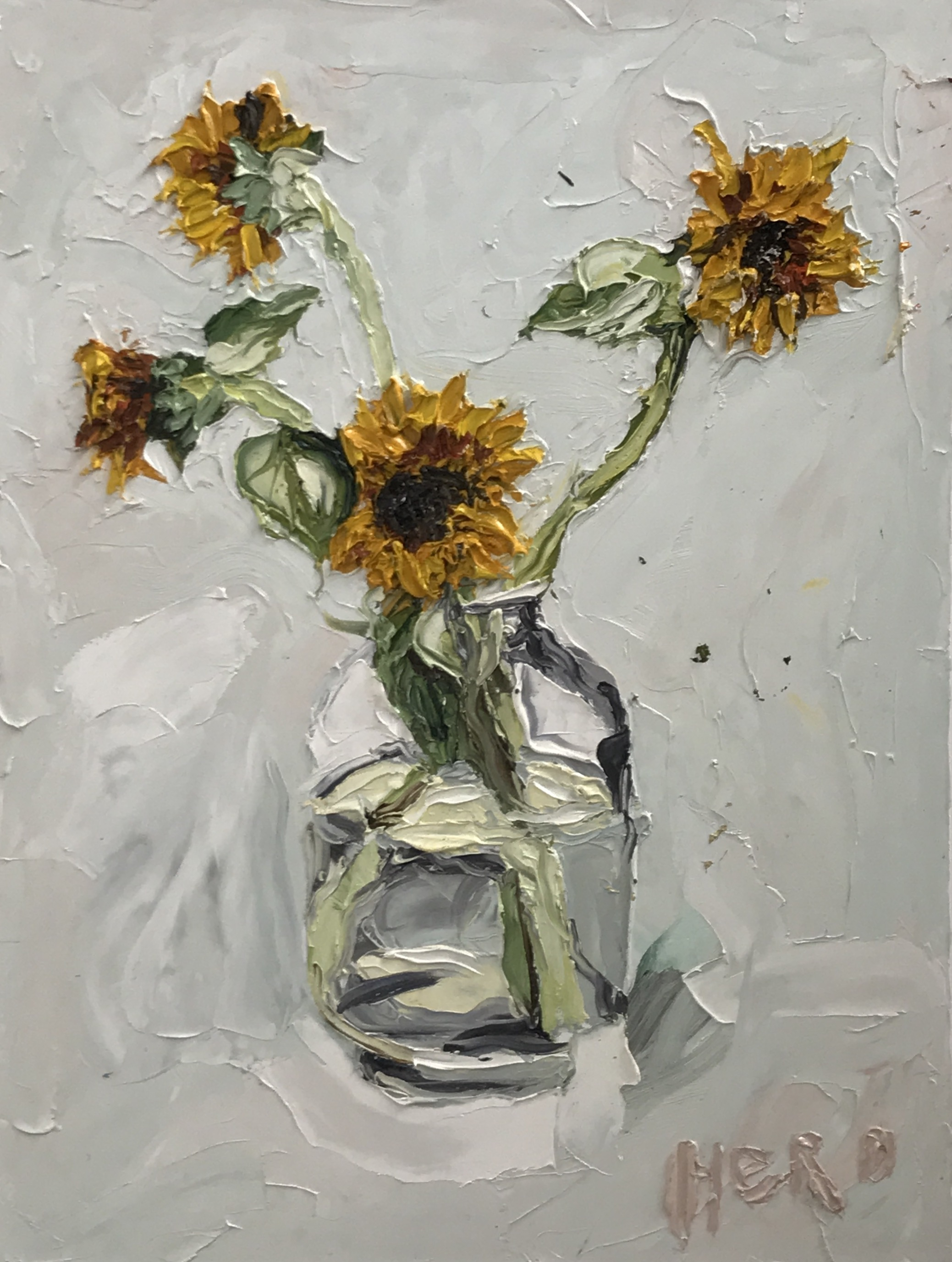 NIck Herd, Sunflowers oil on canvas, 76 x 102 cm, available
