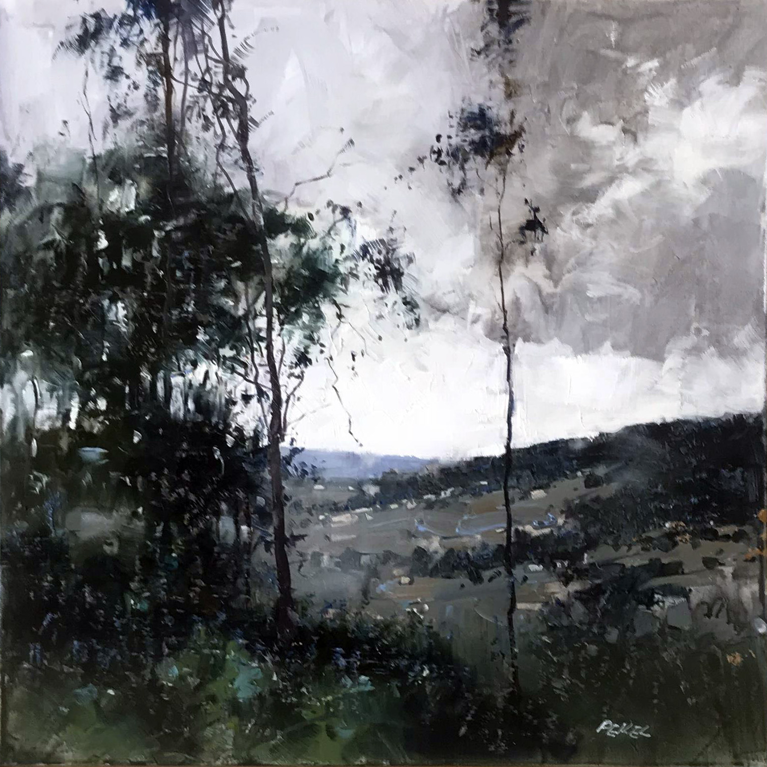 Herman Pekel, Snowy Mountains 3 oil on canvas, 61 x 61 cm, available