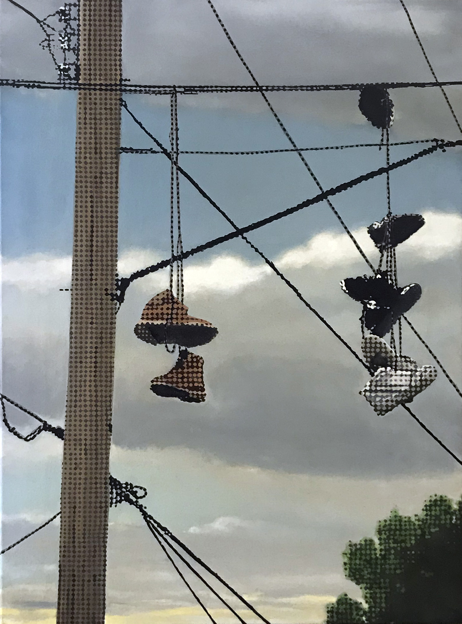 Marc de Jong, Shoefiti 2 oil on linen, 76 x 107 cm, available