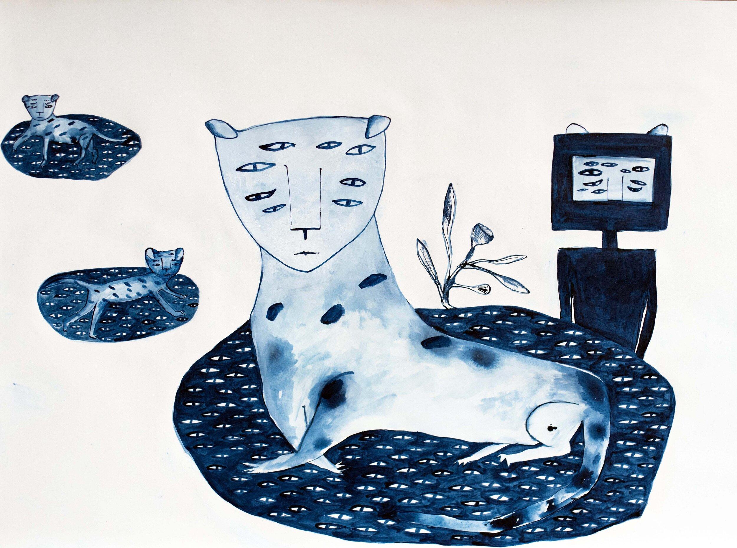 Bertie Blackman, Octavia Leopard 56cm x 85cm, gouache, watercolour, shellac ink, gesso on 300 gsm French cotton rag paper, framed, available