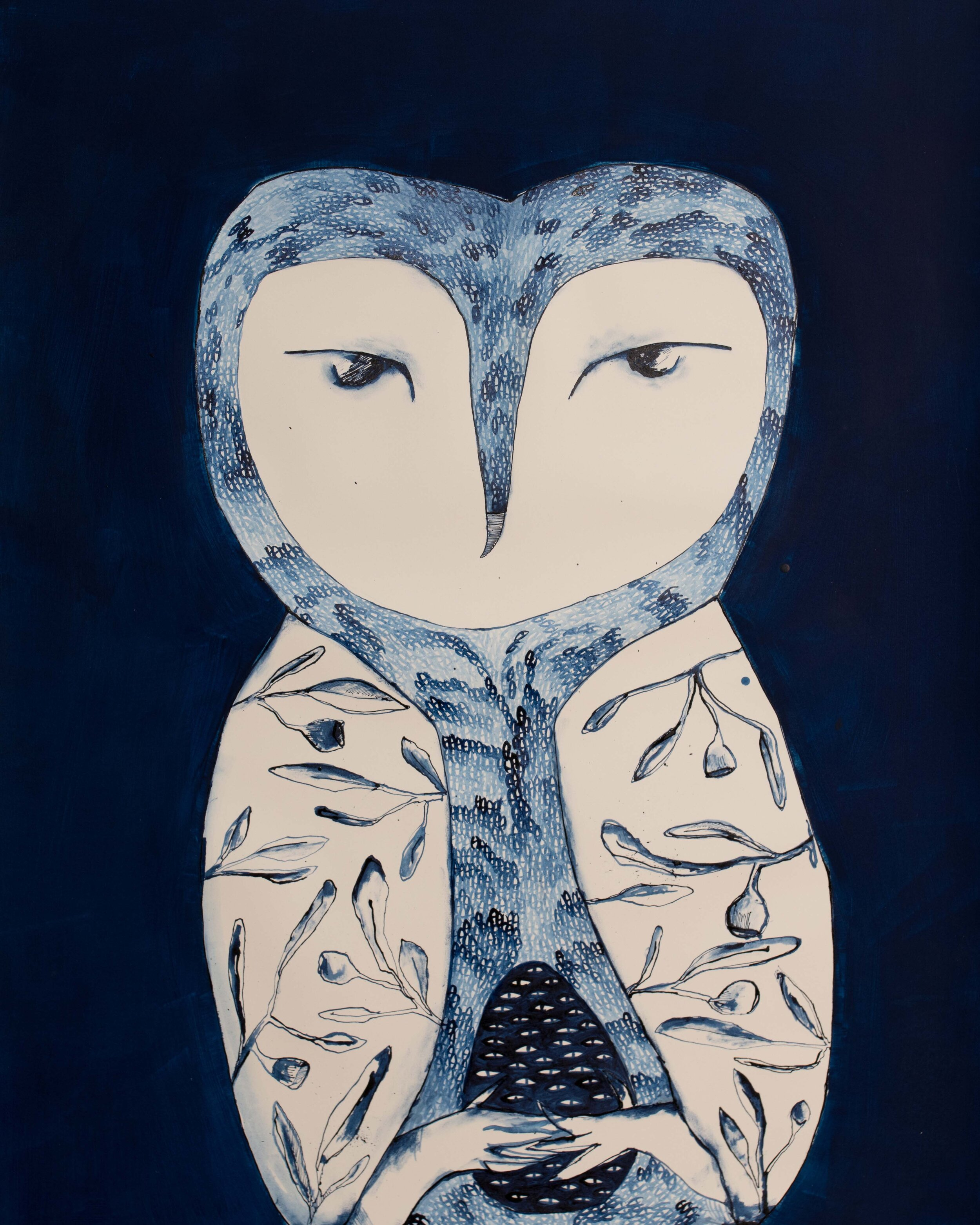 Bertie Blackman, Owl of Eucalypt 56cm x 85cm. gouache, watercolour, shellac ink, gesso on 300 gsm French cotton rag paper, framed, available