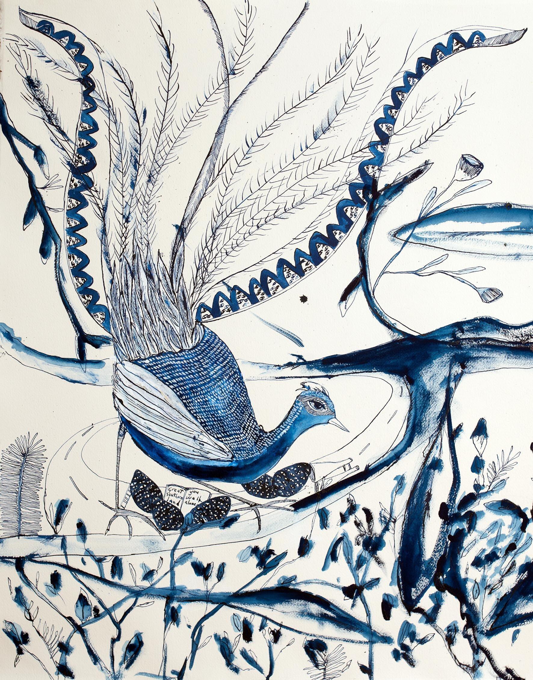 Bertie Blackman, Liar Liar Bird 56cm x 65cm. gouache, watercolour, shellac ink on 300 gsm French cotton rag paper, framed, available