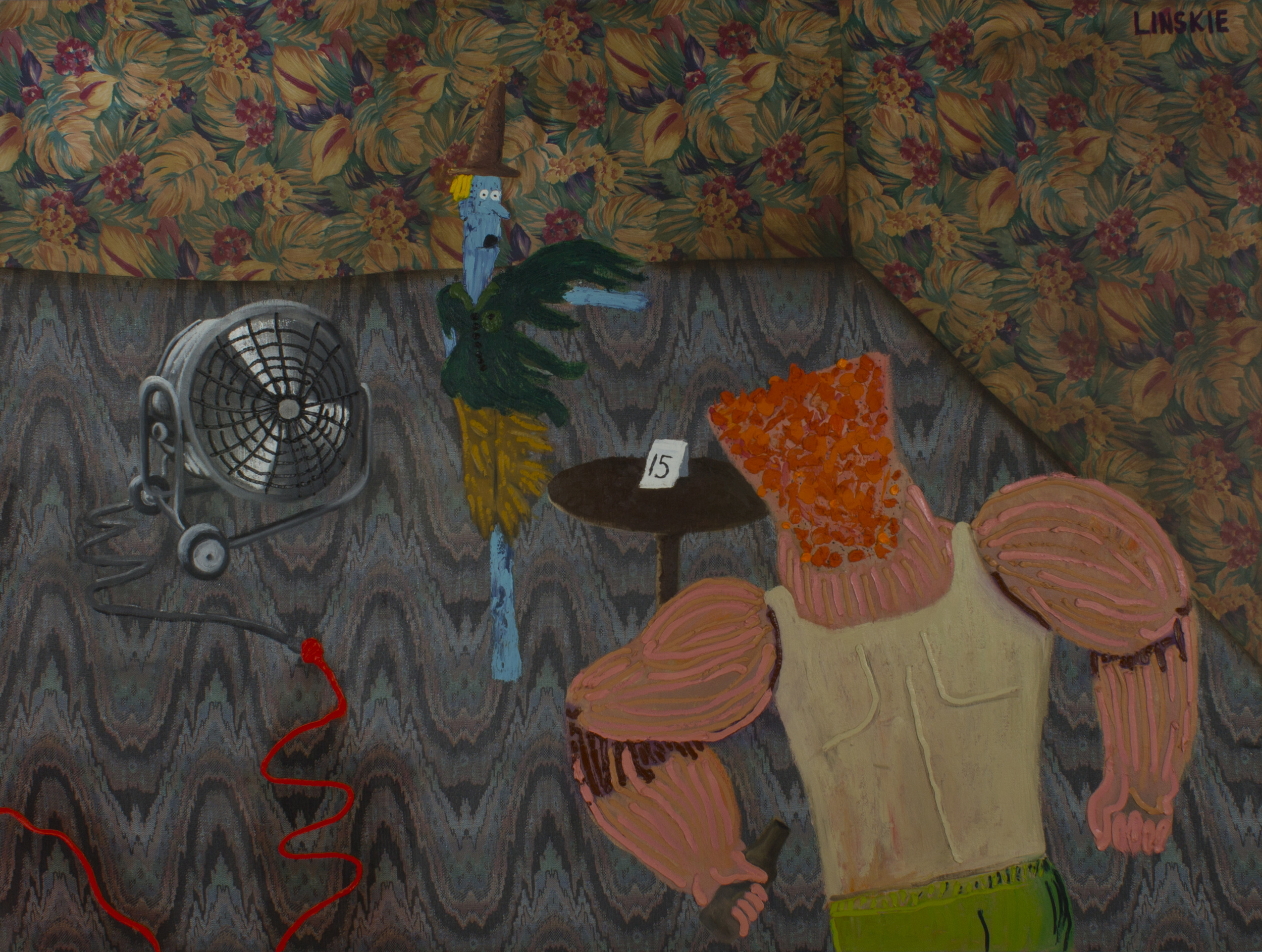 Close Encounters of the Scarecrow Kind  , 2013 oil on fabric 72 x 96 inches