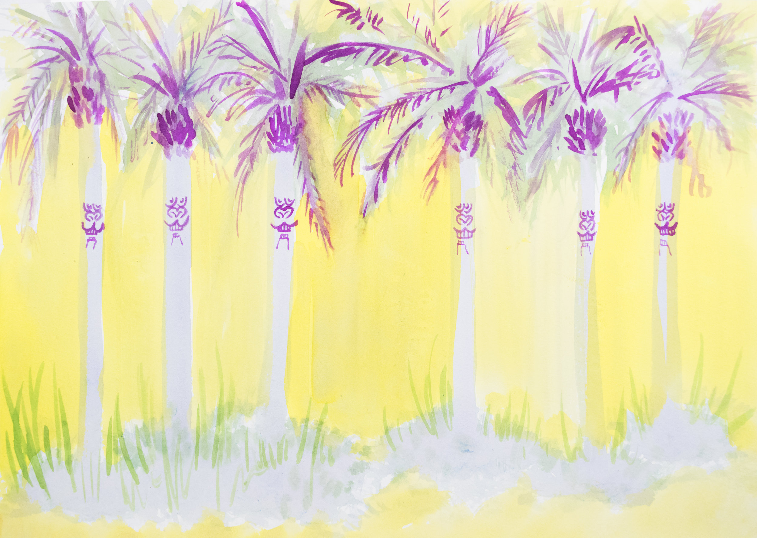 Palm Grove  ,2016 watercolor on paper 11 x 14 inches