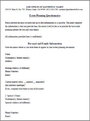Estate Planning Questionnaire - (SAMPLE)
