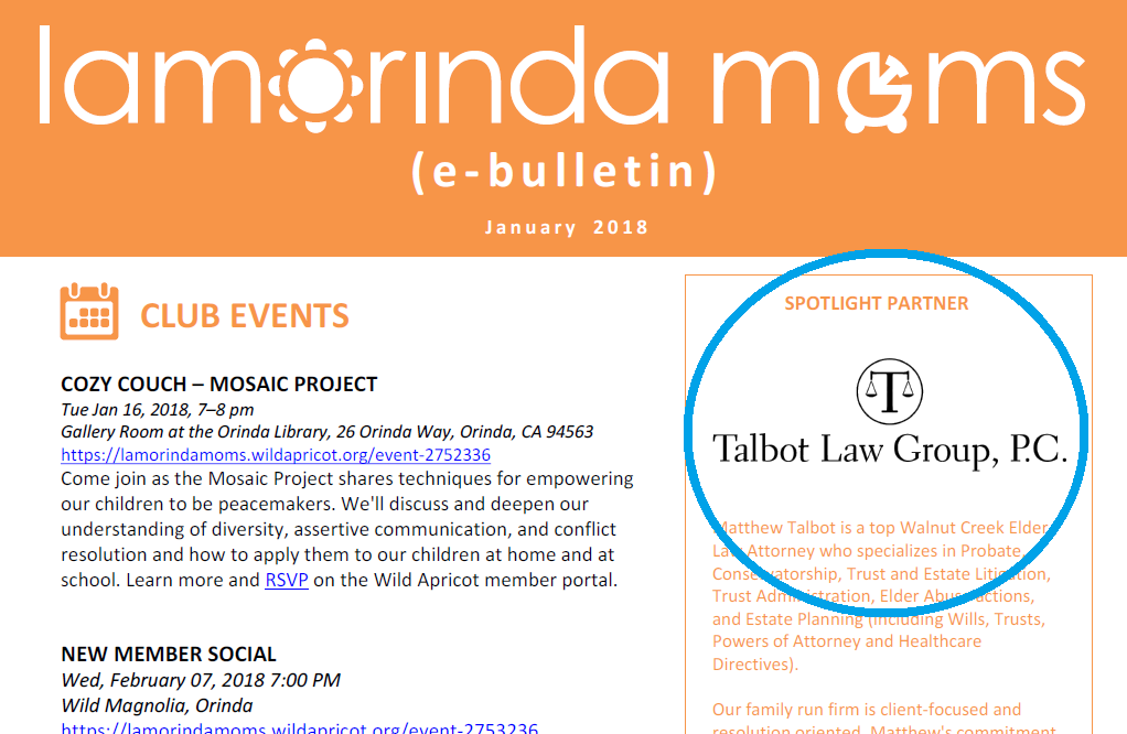 Talbot Law Group featured in Lamorinda Moms 2018! -