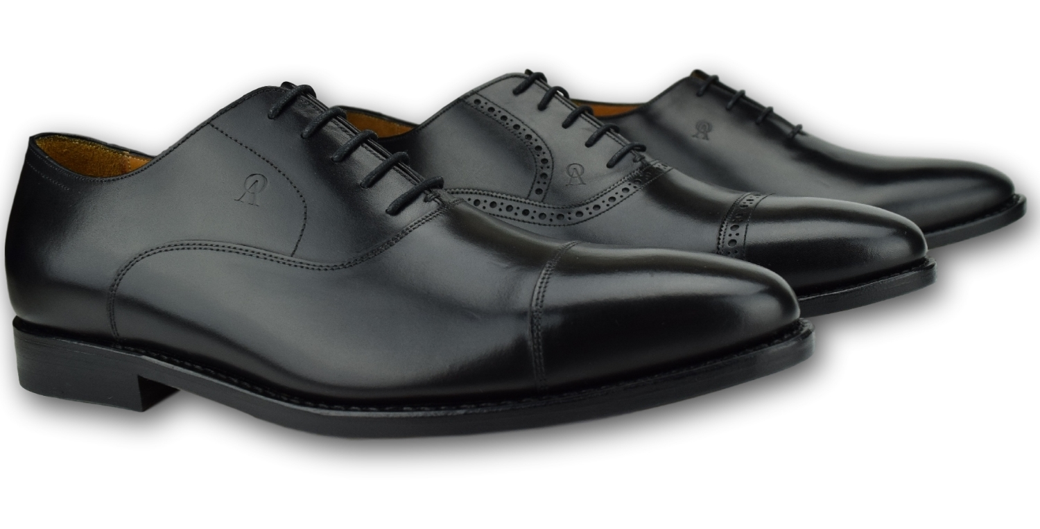Black Cap Toe Oxfords lace-up