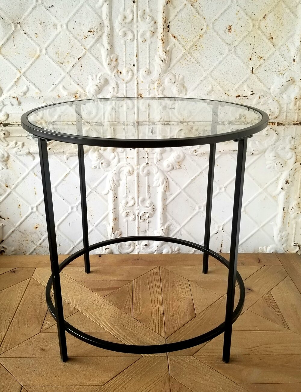 Glass Metal Side Tables Eddy Street Vintage Market - How To Remove Metal From Glass Table