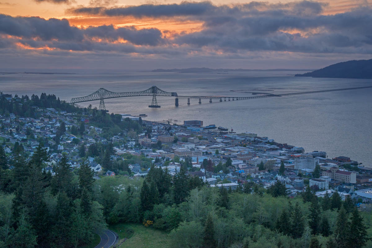 Sunset from the Column ©Lynne Buchanan  The view of the town, the Astoria-Megler bridge and the spit of Washington State visible at the other end was magnificent, especially with the show the clouds put on.