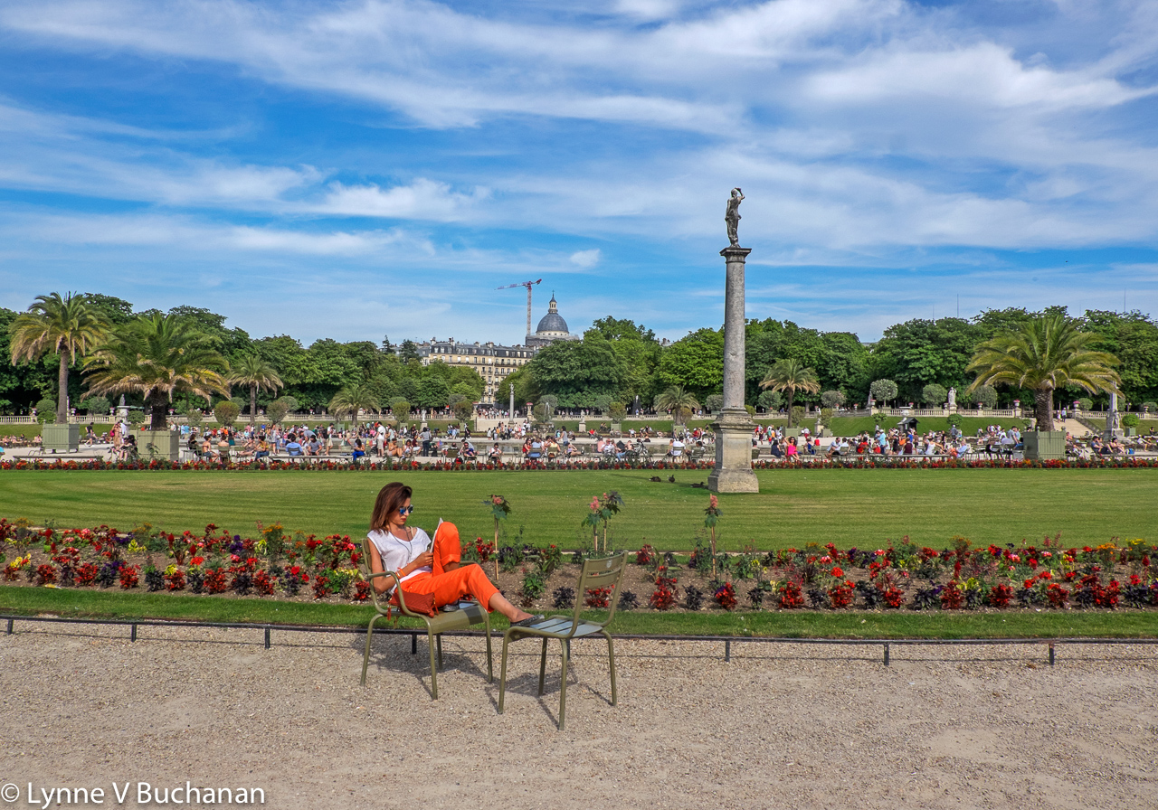 Woman Sunning in the Luxembourg Gardens