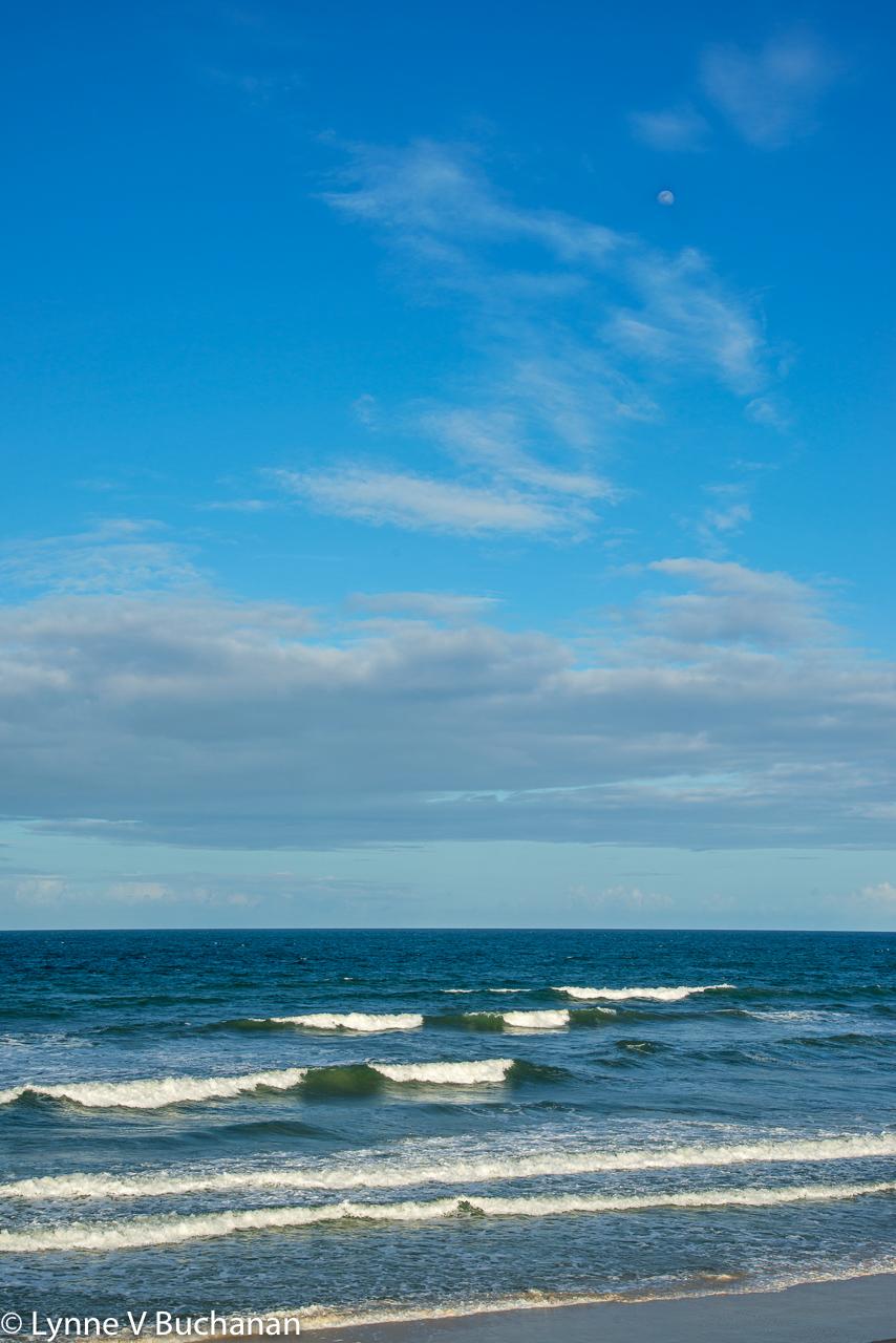 Waves and Full Moon, Vilano Beach