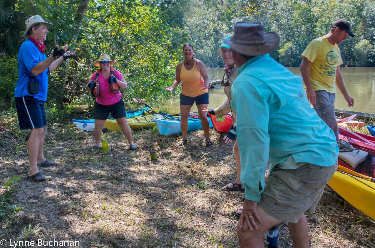 Doug Leading the Group in Kayak Stretches
