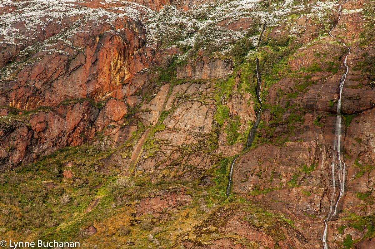 Waterfalls, Vegetation, and Rocks, Agostini Fjiord
