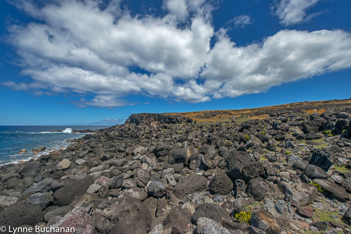 Easter Island Coast with Clouds