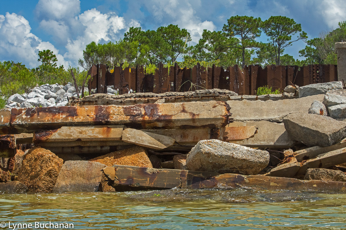 Crumbling Wall with Leaching Rust, Pensacola Bay