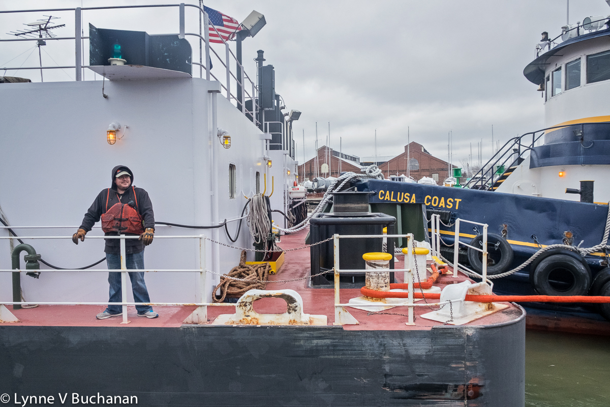Being Pushed Through the Black Rock Lock by a Tug