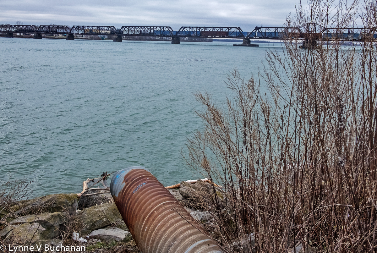 Wastewater Pipe and Coal and Oil Train, Niagara River