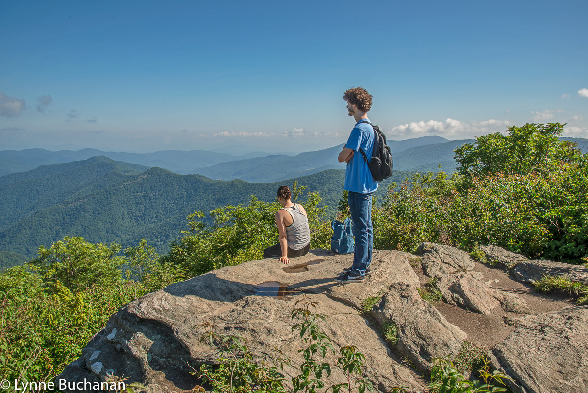 Carolyn and Thomas at the Summit of Sam Knob Trail