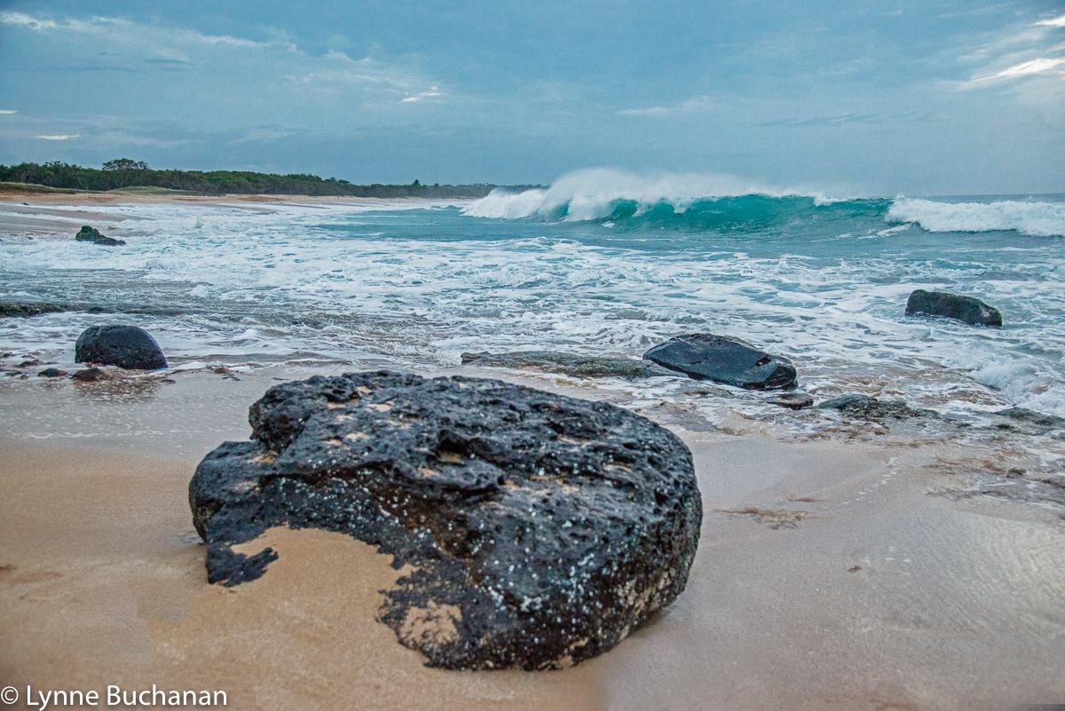 Papohaku Beach Wave and Volcanic Rock