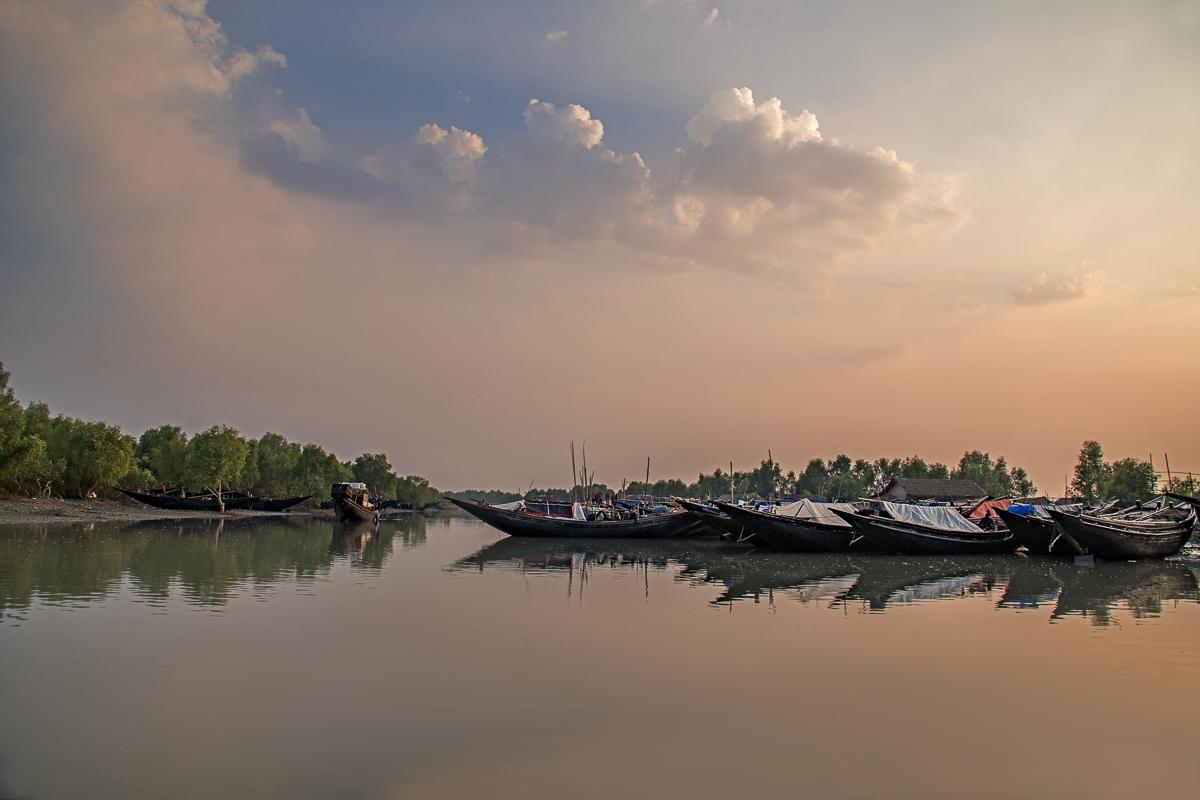 Dusk Over Dublar Char Fishing Village in the Sundarbans