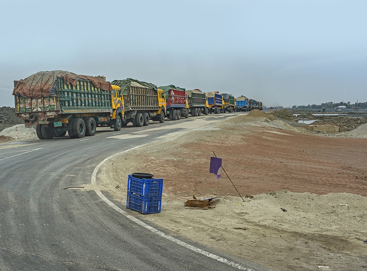 Trucks Going to the Rampal Power Plant Construction Site