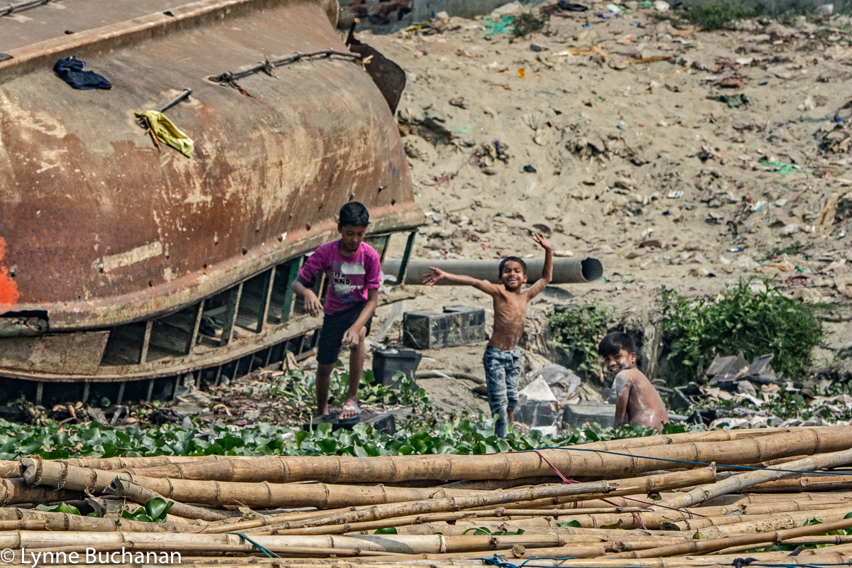 Children Playing Near a Load of Bamboo, Buriganga River
