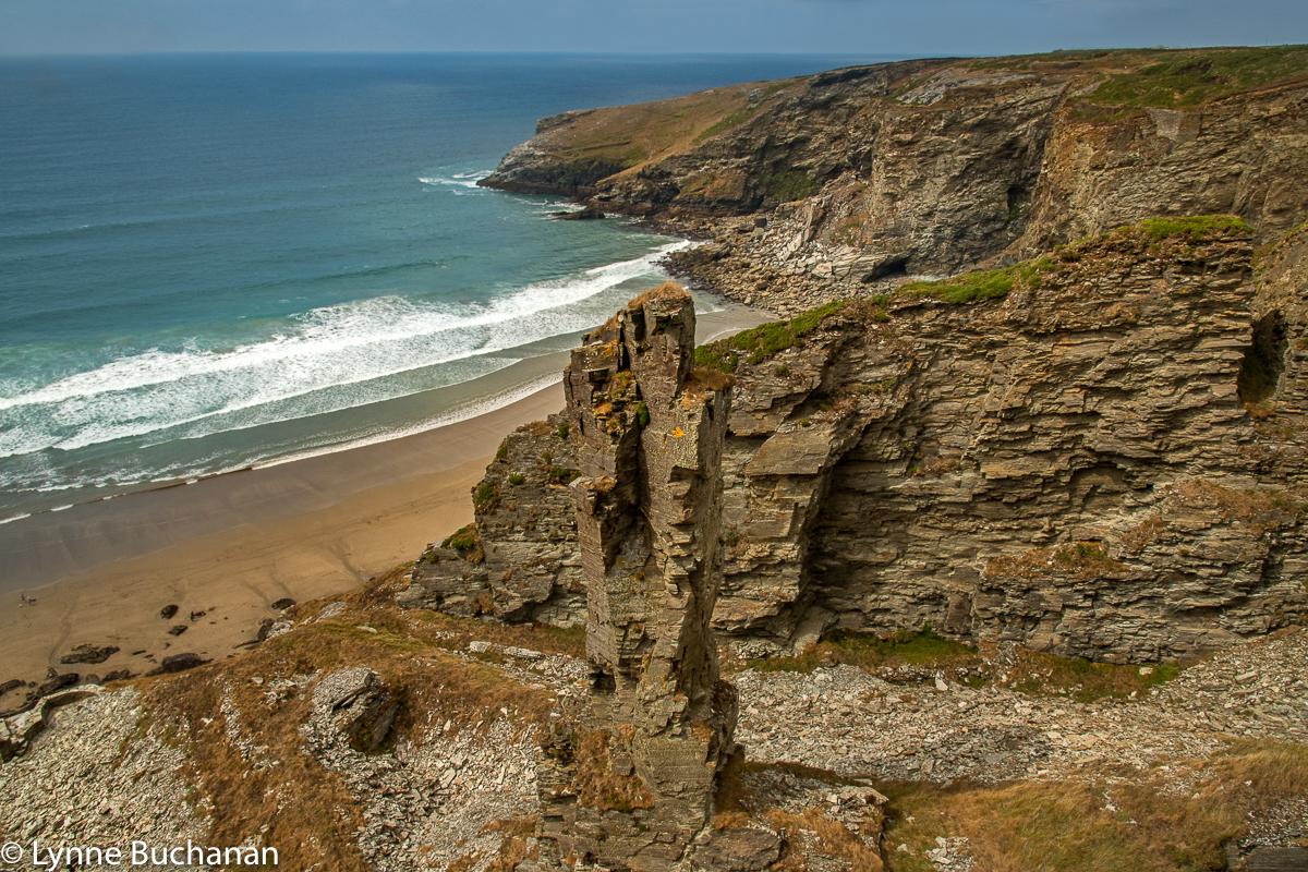 Tintagel Rocky Coastline with Sea Stack