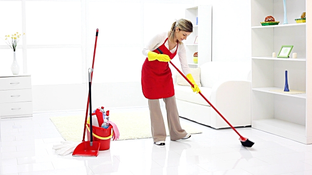 mom cleaning home