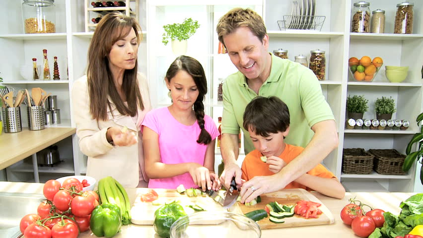 family cooking healthy meal