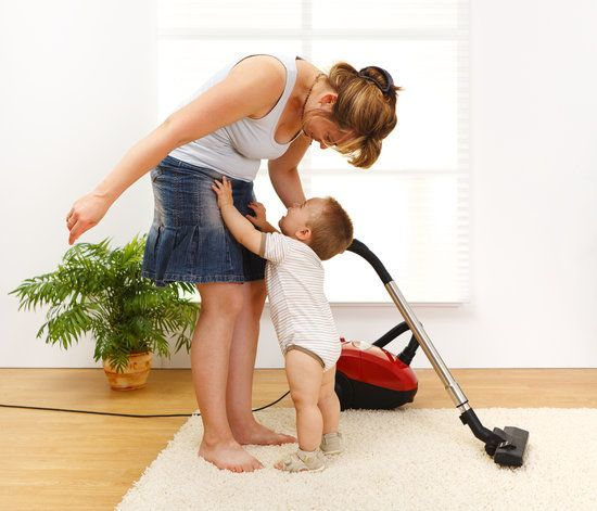 mother doing house chores