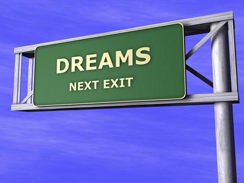 dreams road exit sign