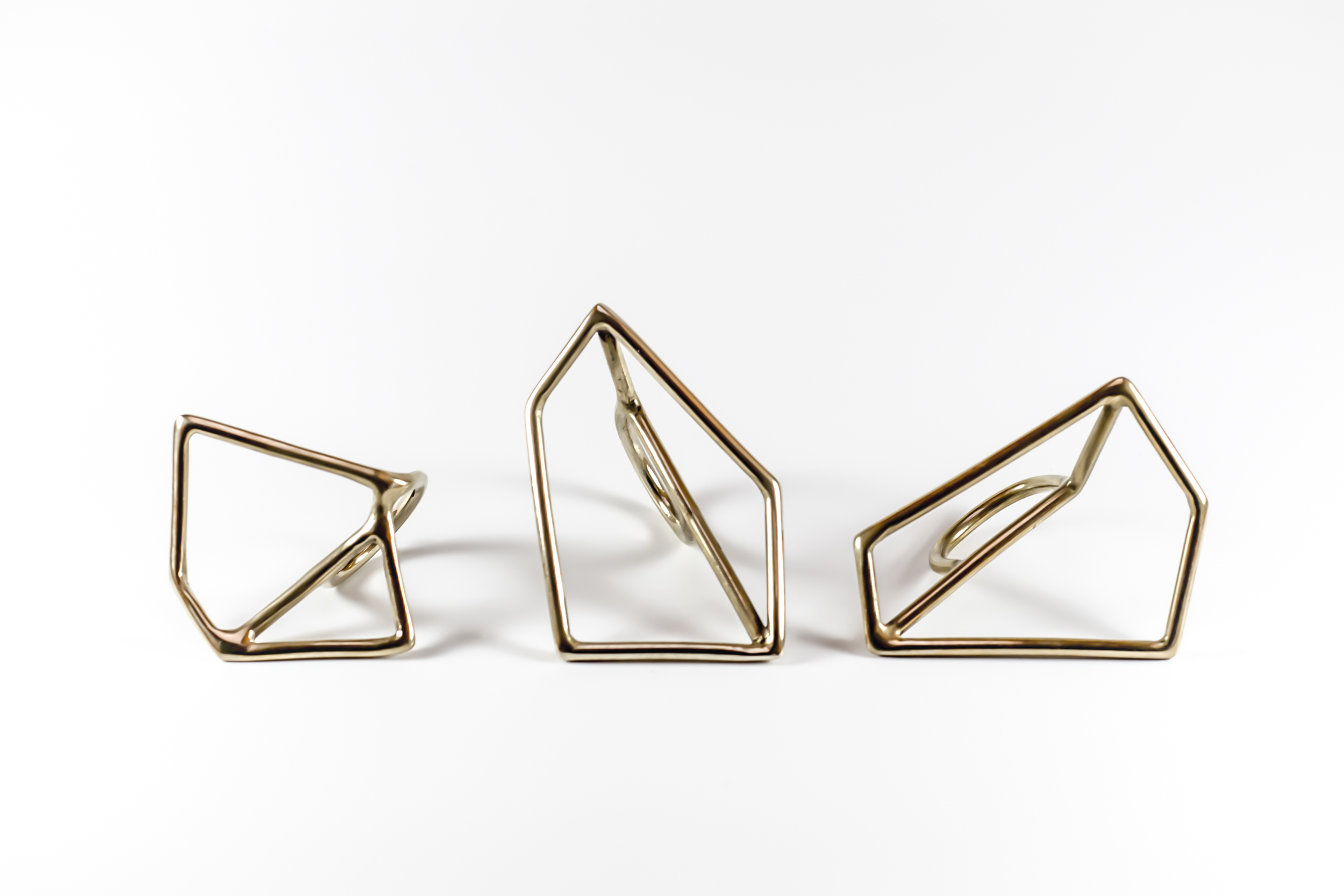 The original Juncture rings, brass, lost-wax cast.  Photo: Dylan Esguerra