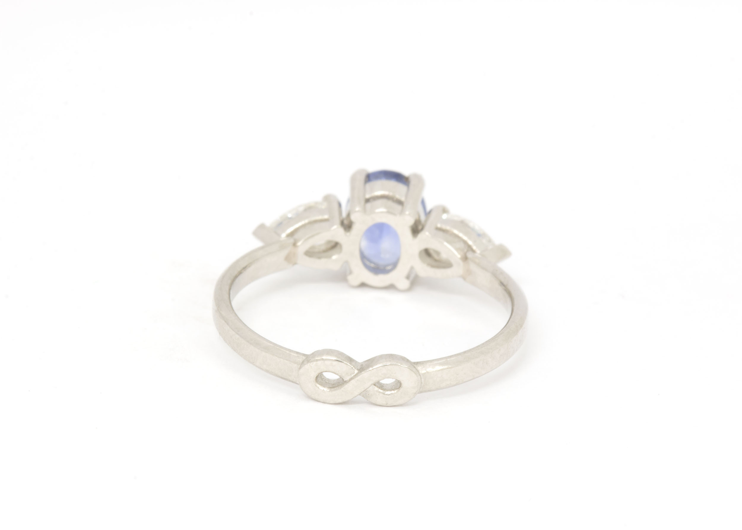 Platinum Engagement Ring with Ceylon Sapphire and Pear Diamonds - Back
