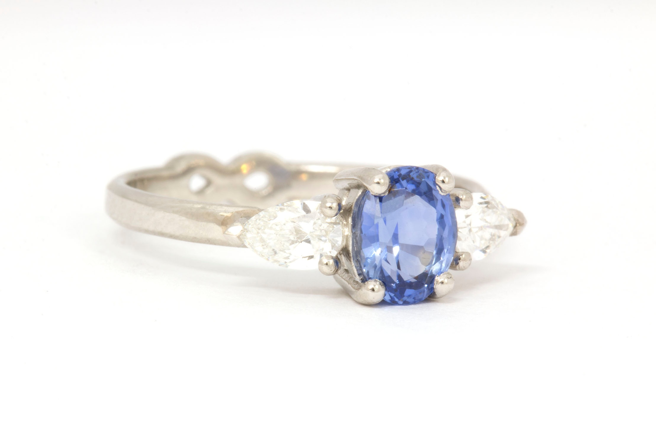 Platinum Engagement Ring with Ceylon Sapphire and Pear Diamonds - Front