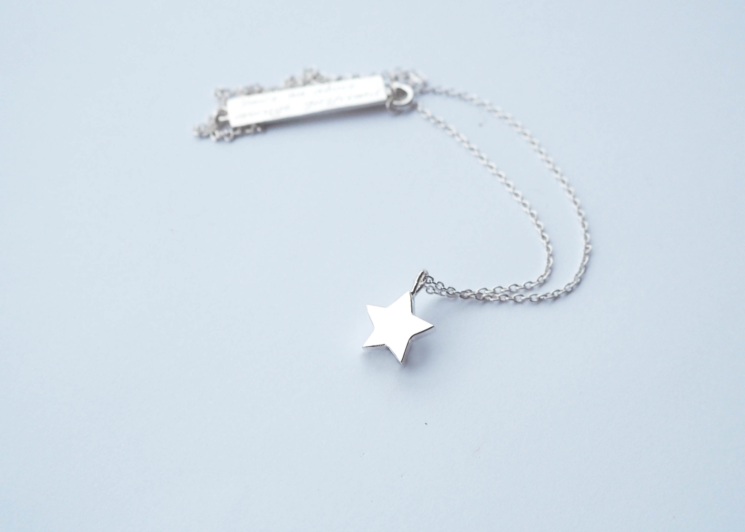 Star Pendant with Engraving - Sterling Silver