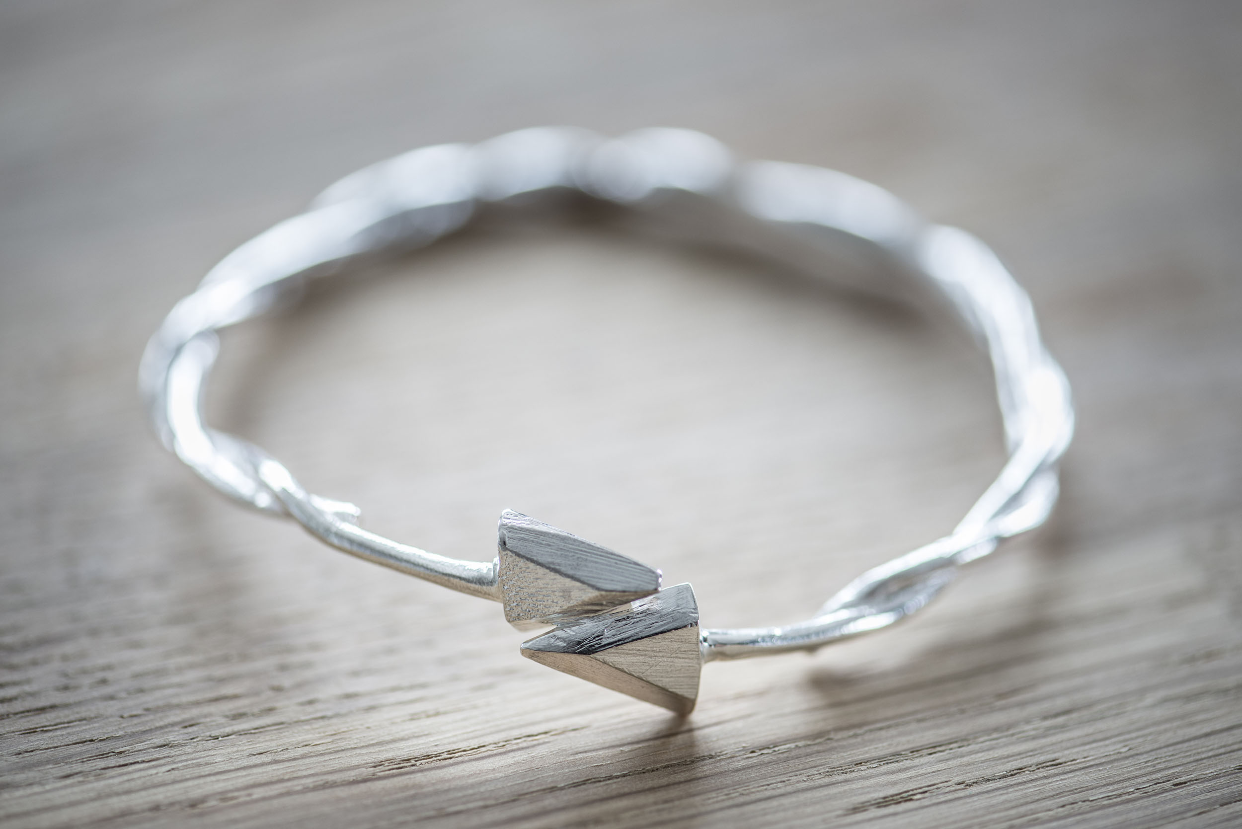 Arrow Bangle Front - Sterling Silver
