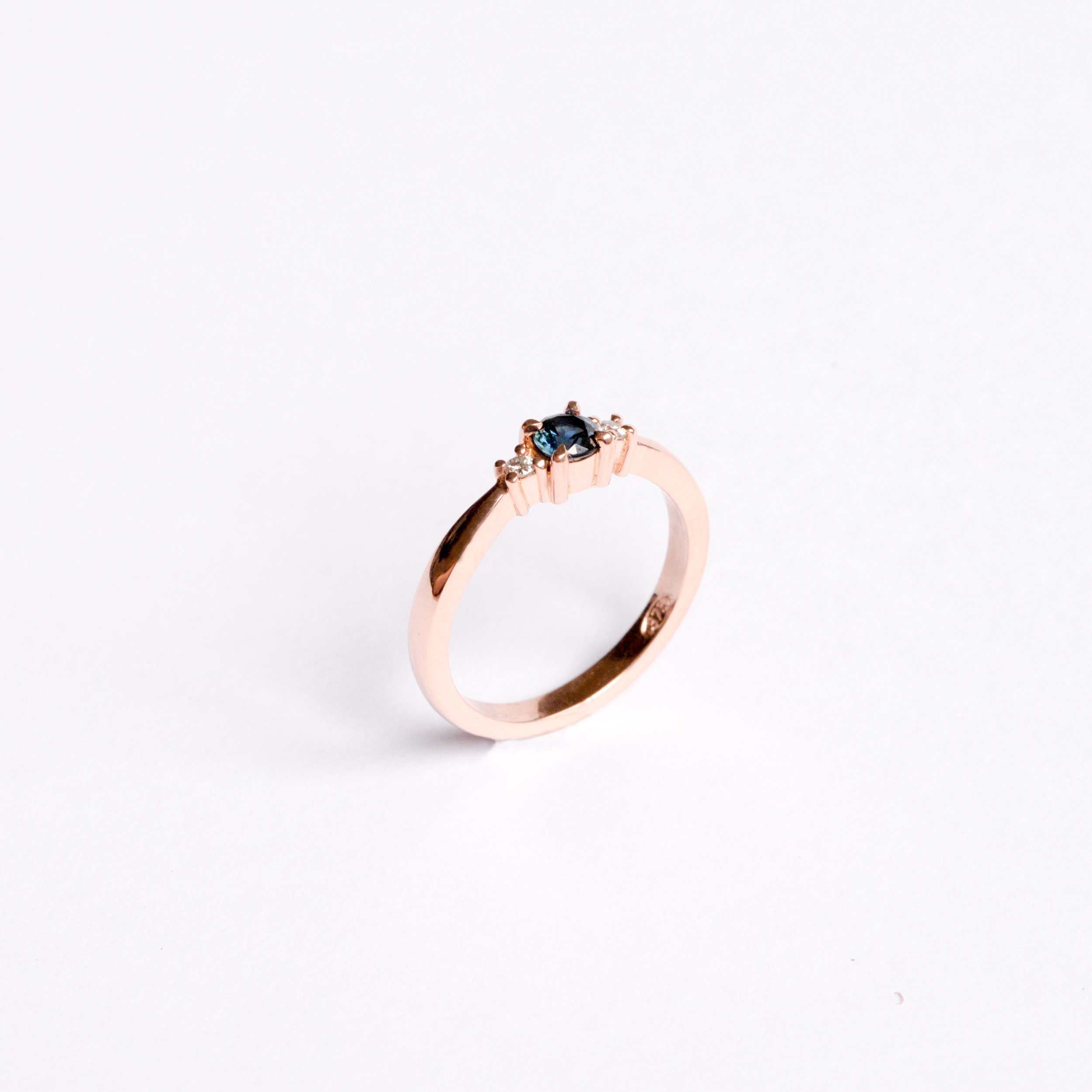 Emma Field-Sapphire Diamond and Rose Gold Ring-2019