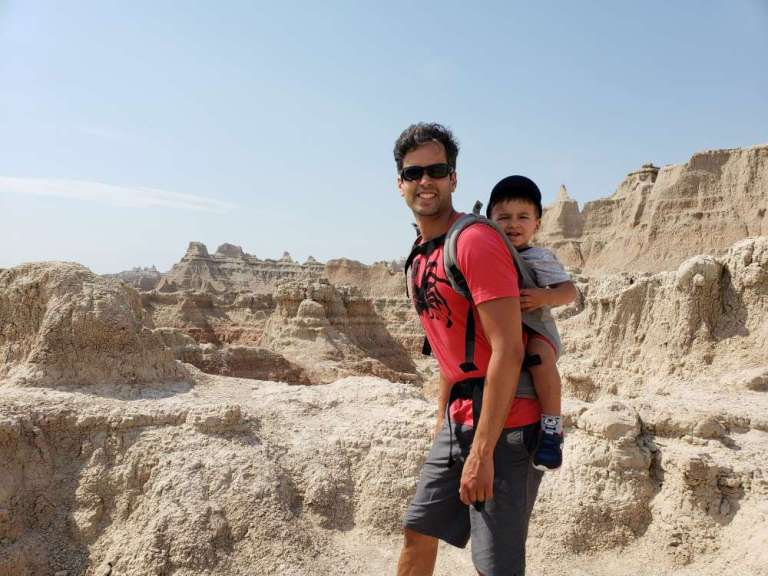 Hi! Here's a picture of me with my son this summer in the South Dakota Badlands