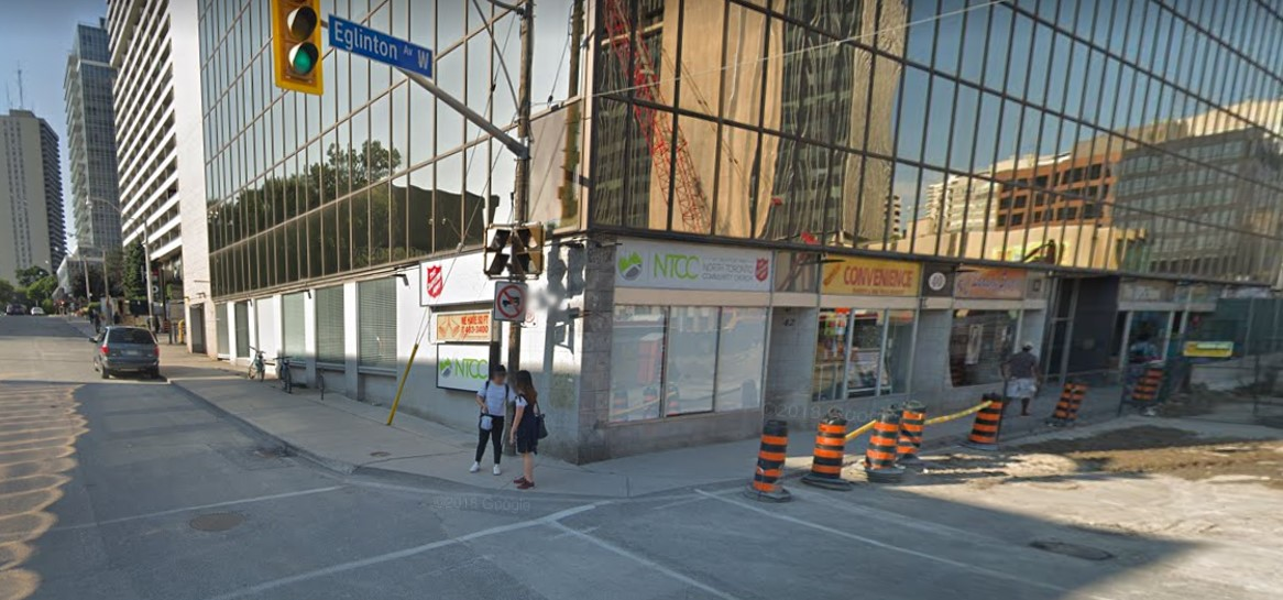 Construction zone of Eglinton and Duplex, this spot used to be a Subway
