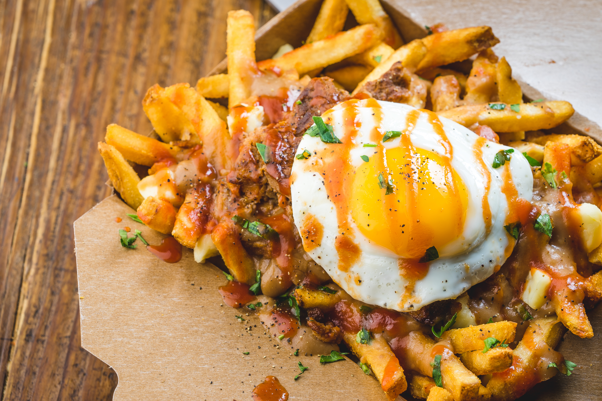 Poutine with egg