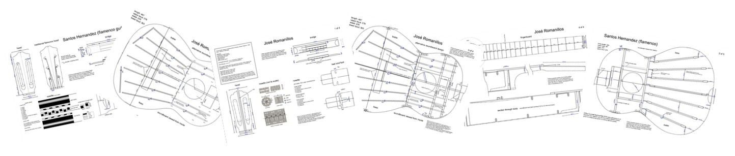 full size plans for making famous classical and flamenco guitars